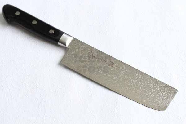 Photo1: Sakai Takayuki Mirror Polish Damascus 45 layer Nakiri knife 160mm