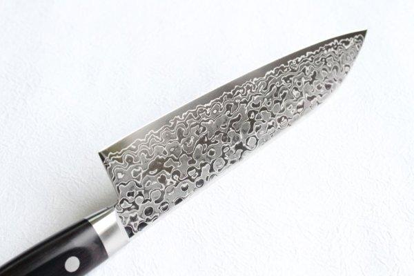 Photo2: Sakai Takayuki Mirror Polish Damascus 45 layer Santoku knife 170mm