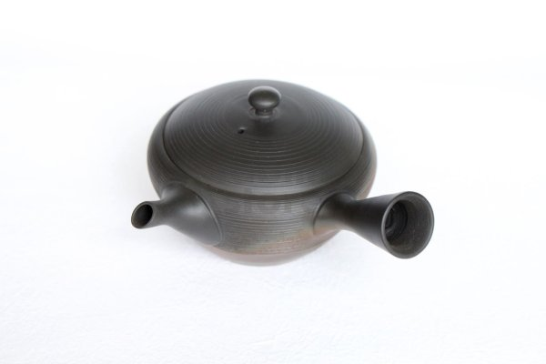 Photo2: Tokoname tea pot kyusu Gyokko pottery tea strainer YT yohen suji-line 110ml