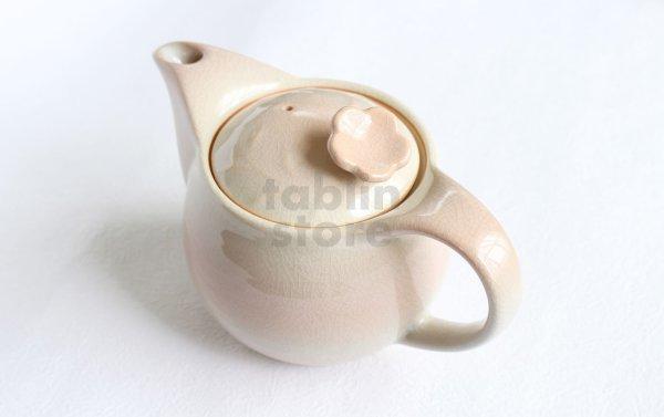 Photo1: Hagi yaki ware Japanese tea pot Hana with stainless tea strainer 400ml