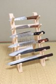 Photo5: Japanese wooden knife stand display holder tower rack for six knives