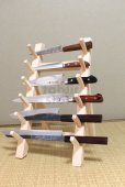 Photo1: Japanese wooden knife stand display holder tower rack for six knives (1)