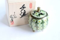Kutani Porcelain Japanese incense burner Kikuzume chrysanth H10cm