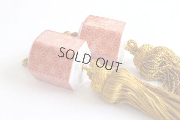 Photo1: Fuchin Weight for Japanese hanging scroll stone Kutani porcelain red komon