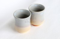Hagi ware Senryuzan climbing kiln Japanese tea cups yunomi gradation set of 2