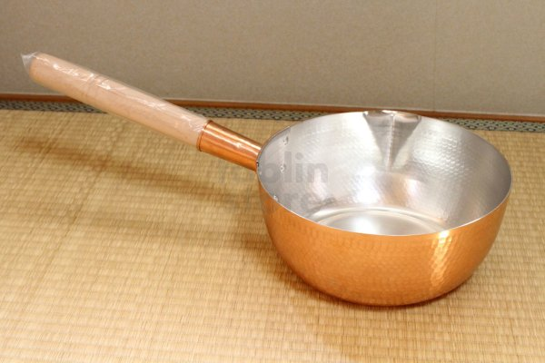 Photo1: Copper Yukihira Pan nabe Japanese lipped deep pot hammered for professional