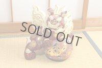 Japanese Leo Shishi Dragon Lion dog Kutani Porcelain mori red H31cm Left