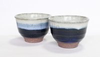 Mino Japanese pottery tea cups yukima sencha wan set of 2