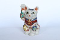 Maneki Neko Japanese Lucky Cat Kutani Porcelain treasure takara H12cm