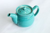 Mino ware Japanese tea pot miyabi turquoise blue stainless tea strainer 540ml