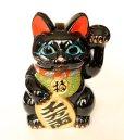 Photo8: Japanese Lucky Cat Tokoname ware YT Porcelain Maneki Neko Kai black left h H23cm
