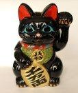 Photo6: Japanese Lucky Cat Tokoname ware YT Porcelain Maneki Neko Kai black left h H23cm