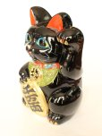 Photo5: Japanese Lucky Cat Tokoname ware YT Porcelain Maneki Neko Kai black left h H23cm