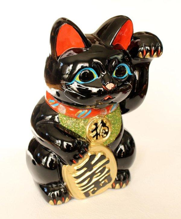 Photo1: Japanese Lucky Cat Tokoname ware YT Porcelain Maneki Neko Kai black left h H23cm