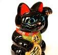 Photo2: Japanese Lucky Cat Tokoname ware YT Porcelain Maneki Neko Kai black left h H23cm (2)