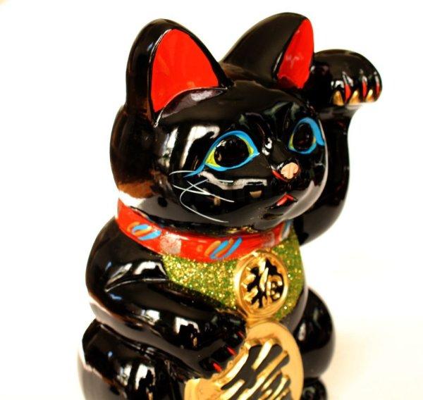 Photo2: Japanese Lucky Cat Tokoname ware YT Porcelain Maneki Neko Kai black left h H23cm