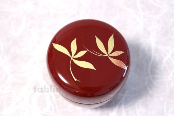 Photo5: Tea Caddy Japanese Natsume Echizen Urushi lacquer Matcha container Orchid Red