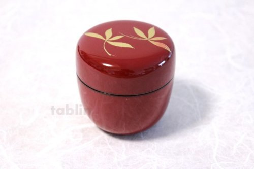 Other Images1: Tea Caddy Japanese Natsume Echizen Urushi lacquer Matcha container Orchid Red