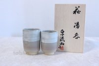 Hagi ware Senryuzan climbing kiln Japanese tea cups hime cray dimple set of 2