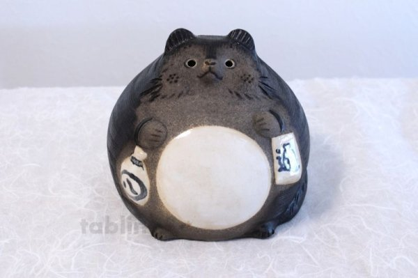 Photo2: Shigaraki pottery Japanese figurineTanuki Raccoon Dog Ofuku H17cm