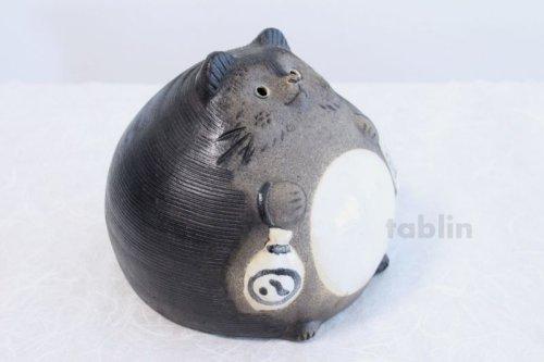 Other Images1: Shigaraki pottery Japanese figurineTanuki Raccoon Dog Ofuku H17cm