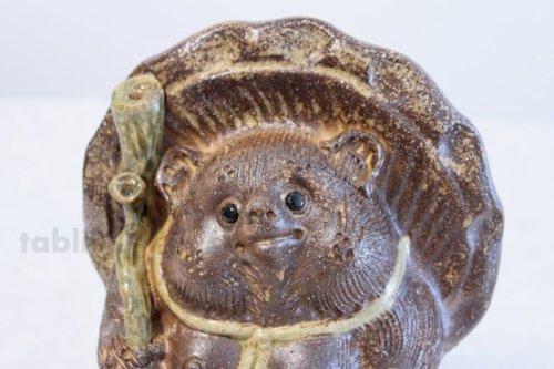 Other Images2: Shigaraki pottery Japanese figurineTanuki Raccoon Dog Hineri H22cm