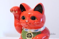 Japanese Lucky Cat Tokoname ware YT Porcelain Maneki Neko koban right red H25cm