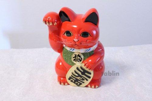 Other Images3: Japanese Lucky Cat Tokoname ware YT Porcelain Maneki Neko koban right red H25cm