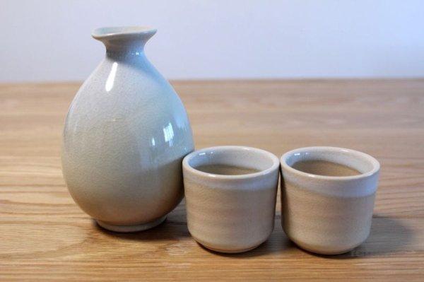 Photo2: Hagi yaki ware Japanese Sake bottle and Sake cup set Himetuti oazuke