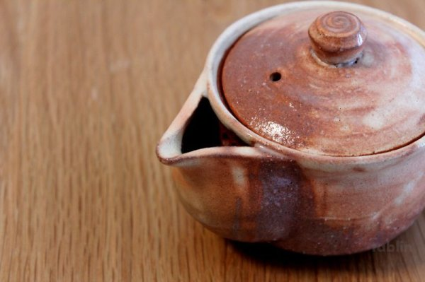 Photo5: Hagi yaki ware Japanese tea pot Ayatuti sen kyusu pottery tea strainer 200ml