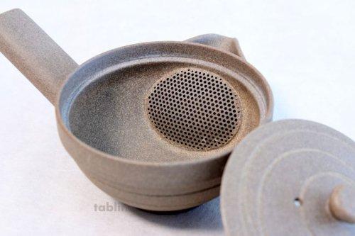 Other Images1: Tokoname yaki ware Japanese tea pot Yakishime morisei ceramic tea strainer 200ml
