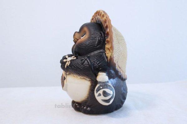 Photo3: Shigaraki pottery Japanese Tanuki Cute Raccoon Dog Onegai ryote H22cm