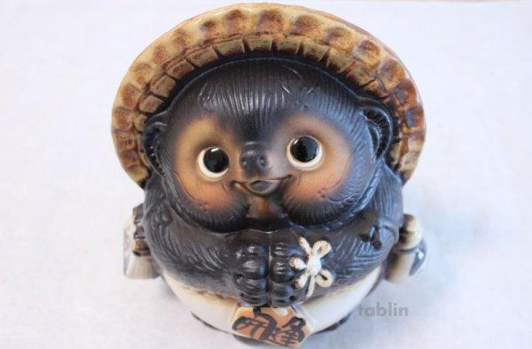 Photo1: Shigaraki pottery Japanese Tanuki Cute Raccoon Dog Onegai ryote H22cm