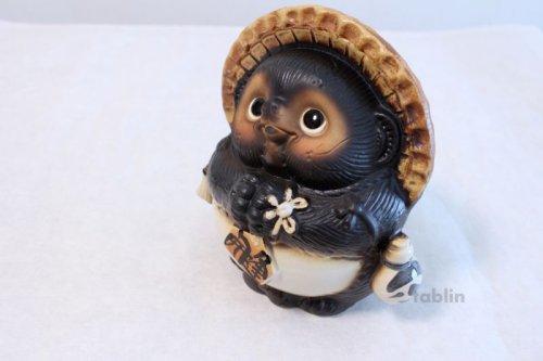Other Images2: Shigaraki pottery Japanese Tanuki Cute Raccoon Dog Onegai ryote H22cm