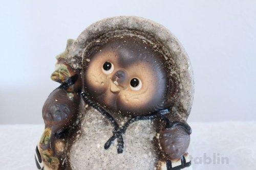 Other Images1: Shigaraki pottery Japanese figurineTanuki Raccoon Dog Kohineri H25.5cm