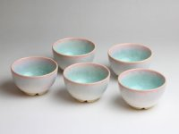 Hagi ware Japanese pottery yunomi sencha bowl tea cups mint 130ml set of 5