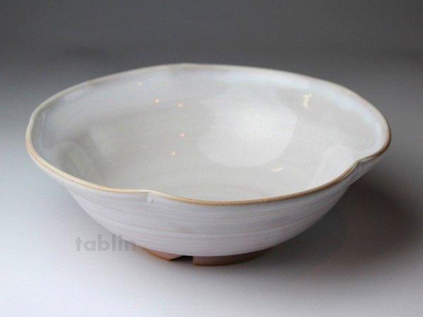 Photo1: Hagi ware Japanese Serving bowl Shiroito White-string W215mm