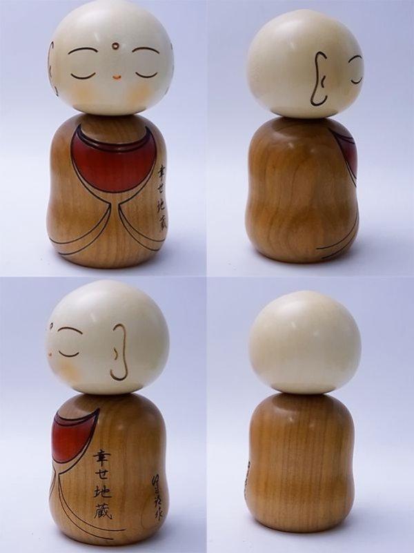 Photo2: Kokeshi Japanese wooden doll usaburo creative Jizo Ksitigarbha H11.5 cm