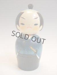 Kokeshi Japanese wooden doll usaburo creative Samurai blue H14.5 cm