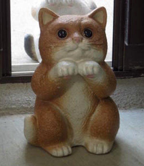 Photo1: Shigaraki pottery Japanese figurine neko Cute cat cha H 18cm