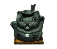 Lucky cat Maneki neko Tokoname YT Japanese green tea aroma Incense Burner H12