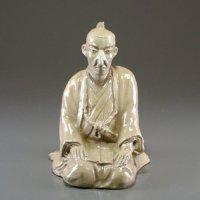 Hagi pottery Statue Japanese Samurai figurine Senryuzan Shoin Yoshida H 17cm