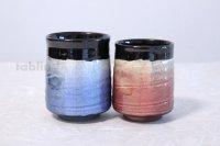Kutani Porcelain Yunomi Ginsai blue red haku m3 Japanese tea cup (set of 2)