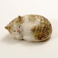 sleep cat neko Shigaraki pottery Japanese doll S W9.0cm
