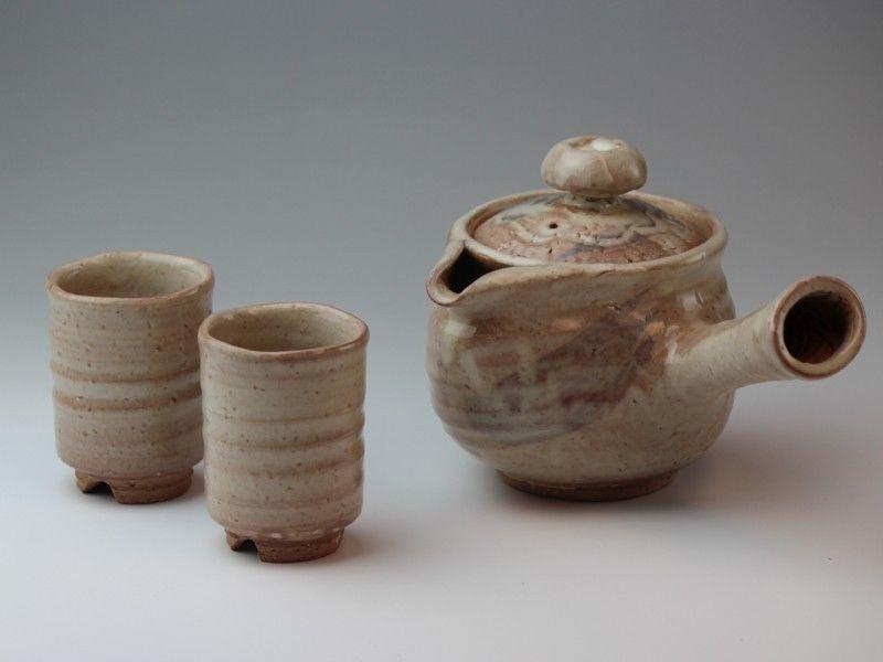 Hagi Yaki Ware Japanese Tea Pot Cups Set Getuei Pottery Tea Strainer