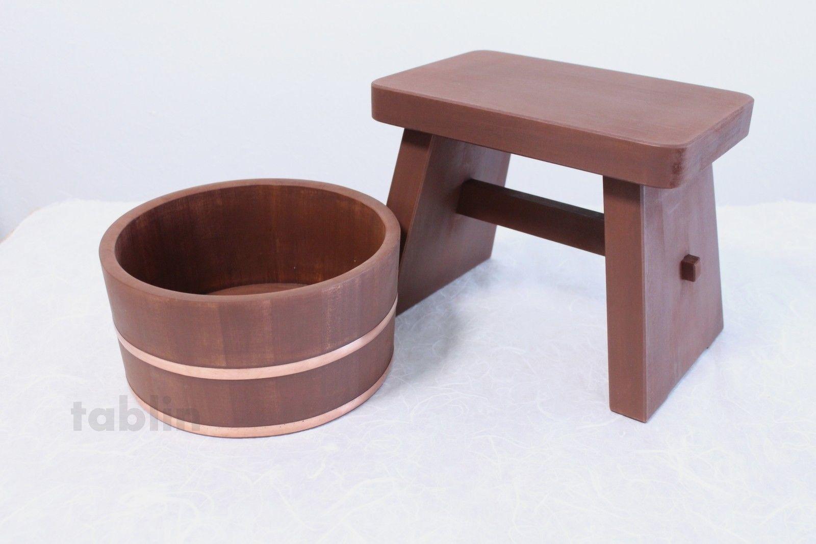 Japanese Kakishibu brown Bath Stool & Basin Set natural wood ...