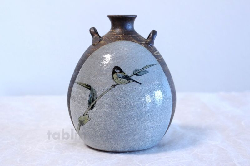 Kutani Porcelain Toshito Nakamura Sparrow Single Japanese Vase H15