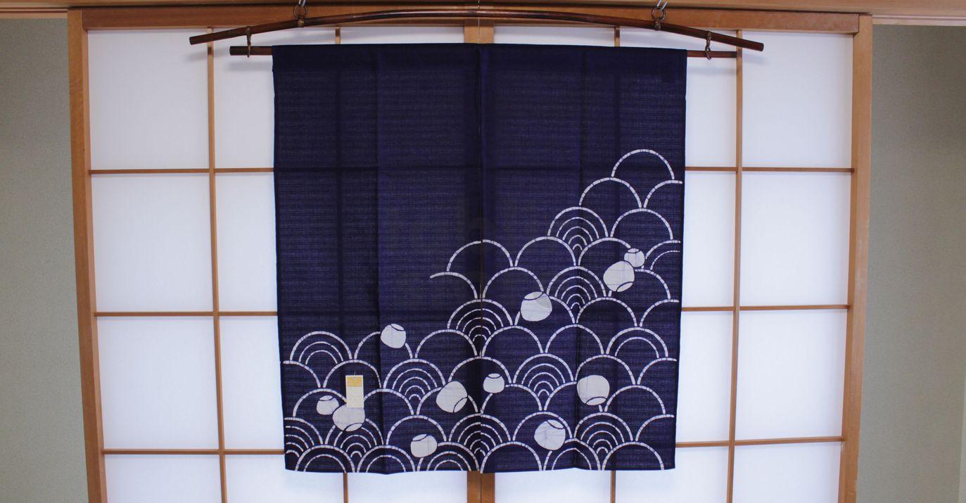 Kyoto Noren SB Japanese Batik Door Curtain Nami Wave Navy Blue 85cm X 90cm