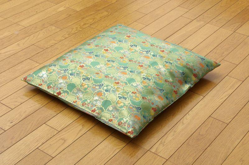 Japanese floor pillow cushion cover polyester brocade Kinran