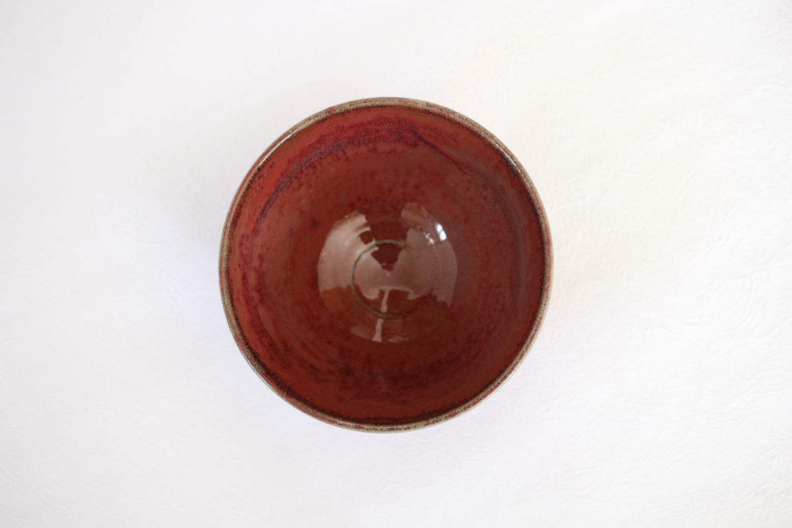 Kiyomizu sd pottery Japanese matcha tea ceremony bowl shinsha red